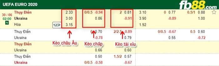fb88 keo chap Thuy Dien vs Ukraine 30-06-2021